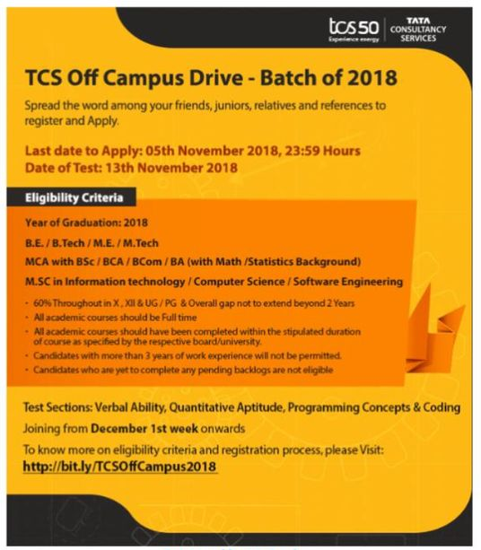 tcs off campus drive 2018-19